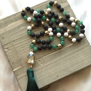 Jewelry - Black Lave Stone W/Green Knotted  Tassel Necklace